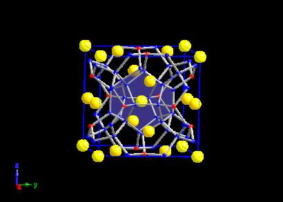 Material Clathrate yang berstruktur seperti sangkar menyediakan ruang kosong yang dapat ditempati oleh atom (bola kuning) yang berikatan lemah dan dapat bergetar untuk menghamburkan fonon pembawa panas.